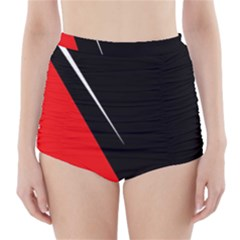 Black and red design High-Waisted Bikini Bottoms