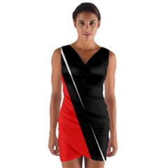 Black And Red Design Wrap Front Bodycon Dress