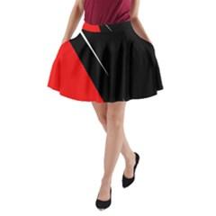 Black and red design A-Line Pocket Skirt