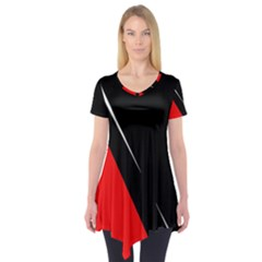 Black and red design Short Sleeve Tunic