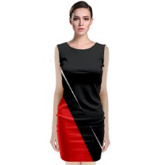 Black and red design Classic Sleeveless Midi Dress