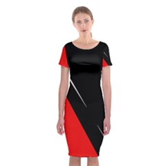 Black and red design Classic Short Sleeve Midi Dress