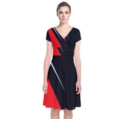 Black and red design Short Sleeve Front Wrap Dress