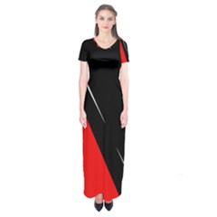 Black and red design Short Sleeve Maxi Dress