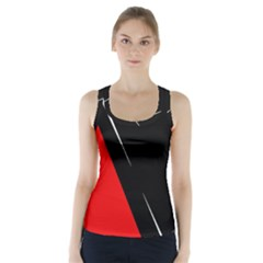 Black And Red Design Racer Back Sports Top