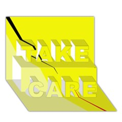 Yellow design TAKE CARE 3D Greeting Card (7x5)