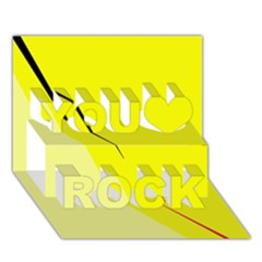 Yellow design You Rock 3D Greeting Card (7x5)
