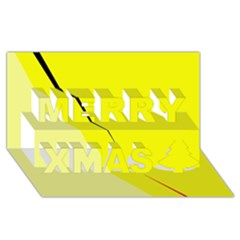 Yellow design Merry Xmas 3D Greeting Card (8x4)