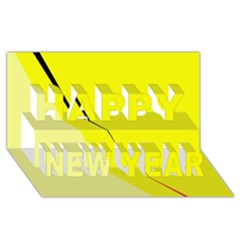 Yellow design Happy New Year 3D Greeting Card (8x4)