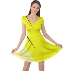 Yellow design Cap Sleeve Dresses