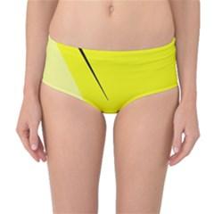 Yellow design Mid-Waist Bikini Bottoms