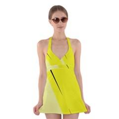 Yellow design Halter Swimsuit Dress