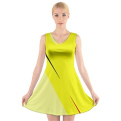 Yellow design V-Neck Sleeveless Skater Dress