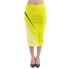 Yellow Design Midi Pencil Skirt