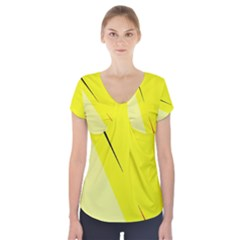 Yellow design Short Sleeve Front Detail Top