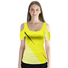 Yellow Design Butterfly Sleeve Cutout Tee