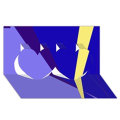 Geometrical abstraction Twin Hearts 3D Greeting Card (8x4)