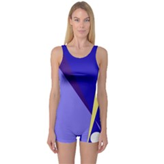 Geometrical abstraction One Piece Boyleg Swimsuit