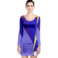 Geometrical abstraction Long Sleeve Bodycon Dress