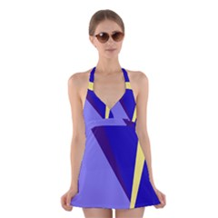 Geometrical abstraction Halter Swimsuit Dress