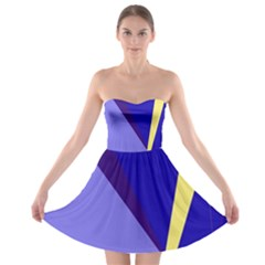 Geometrical abstraction Strapless Dresses