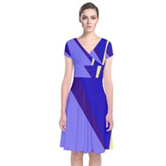 Geometrical abstraction Short Sleeve Front Wrap Dress
