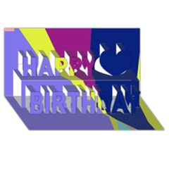 Geometrical abstraction Happy Birthday 3D Greeting Card (8x4)