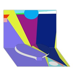 Geometrical abstraction Heart Bottom 3D Greeting Card (7x5)