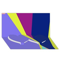 Geometrical abstraction Twin Heart Bottom 3D Greeting Card (8x4)