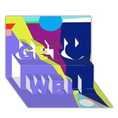 Geometrical abstraction Get Well 3D Greeting Card (7x5)
