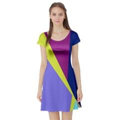 Geometrical abstraction Short Sleeve Skater Dress