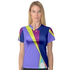 Geometrical abstraction Women s V-Neck Sport Mesh Tee