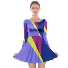 Geometrical abstraction Long Sleeve Skater Dress