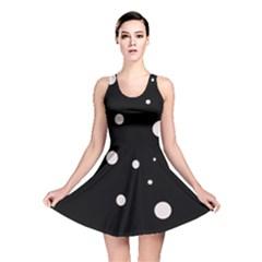 White dots Reversible Skater Dress