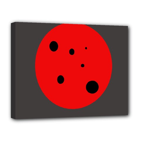 Red circle Canvas 14  x 11