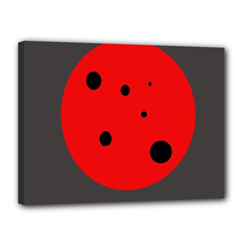 Red circle Canvas 16  x 12