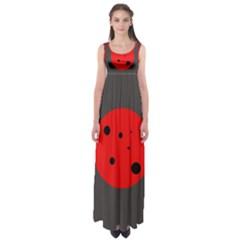 Red circle Empire Waist Maxi Dress