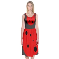 Red circle Midi Sleeveless Dress