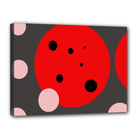 Red and pink dots Canvas 16  x 12