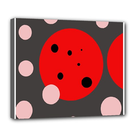 Red and pink dots Deluxe Canvas 24  x 20