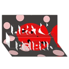 Red and pink dots Best Friends 3D Greeting Card (8x4)