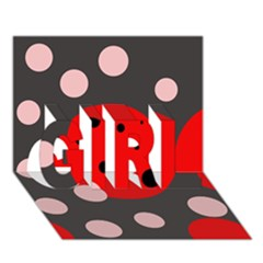 Red and pink dots GIRL 3D Greeting Card (7x5)