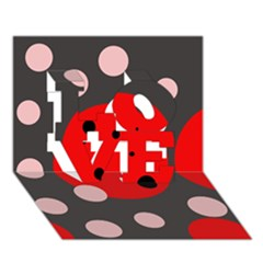 Red and pink dots LOVE 3D Greeting Card (7x5)
