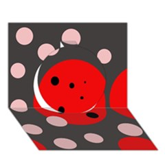 Red and pink dots Circle 3D Greeting Card (7x5)