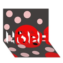 Red and pink dots HOPE 3D Greeting Card (7x5)