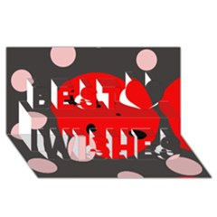 Red and pink dots Best Wish 3D Greeting Card (8x4)