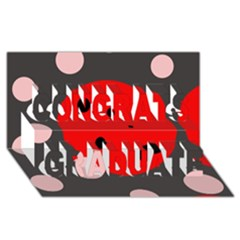 Red and pink dots Congrats Graduate 3D Greeting Card (8x4)