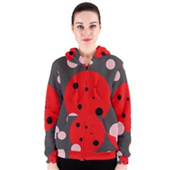 Red and pink dots Women s Zipper Hoodie