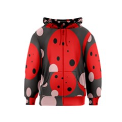 Red and pink dots Kids  Zipper Hoodie