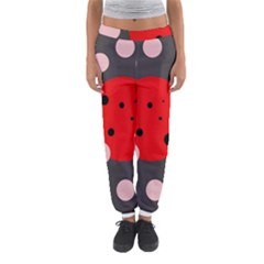 Red and pink dots Women s Jogger Sweatpants